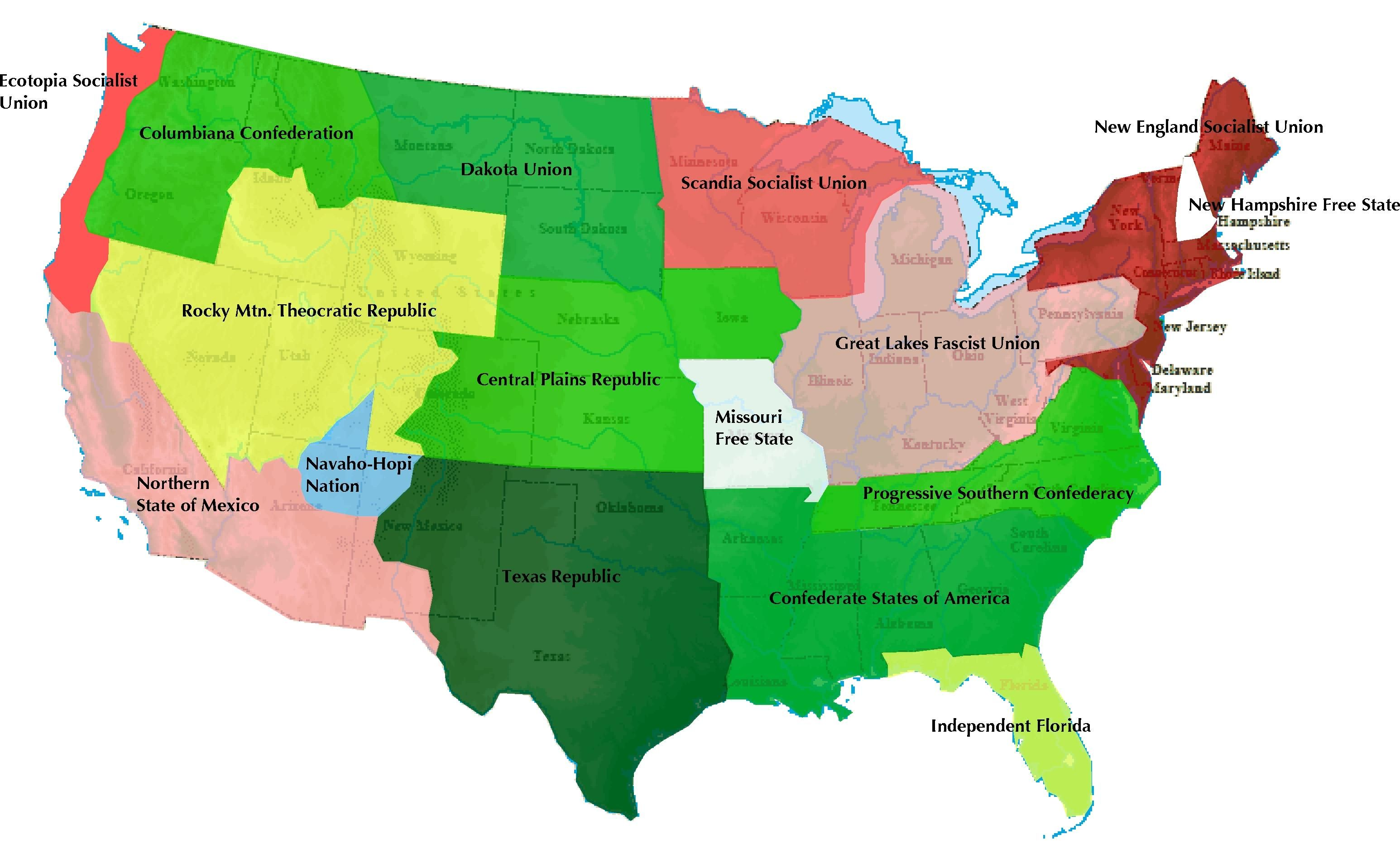 NeoAmericajpg Ucrony And Alternative History - Alternate history us map
