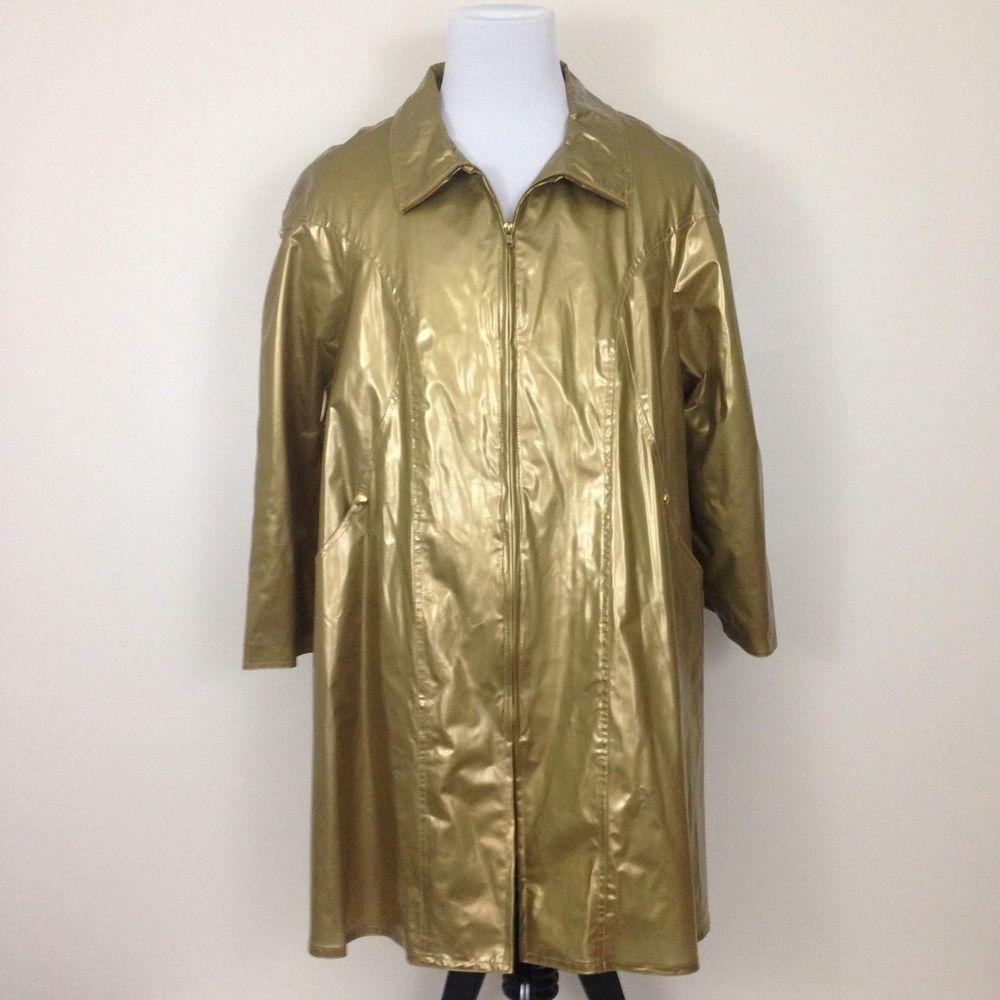Vtg Gold Vinyl Full Zip Raincoat Jacket Rain Slicker Atlantic Beach 1x Steampunk Raincoat Jacket Raincoat Rain Slicker