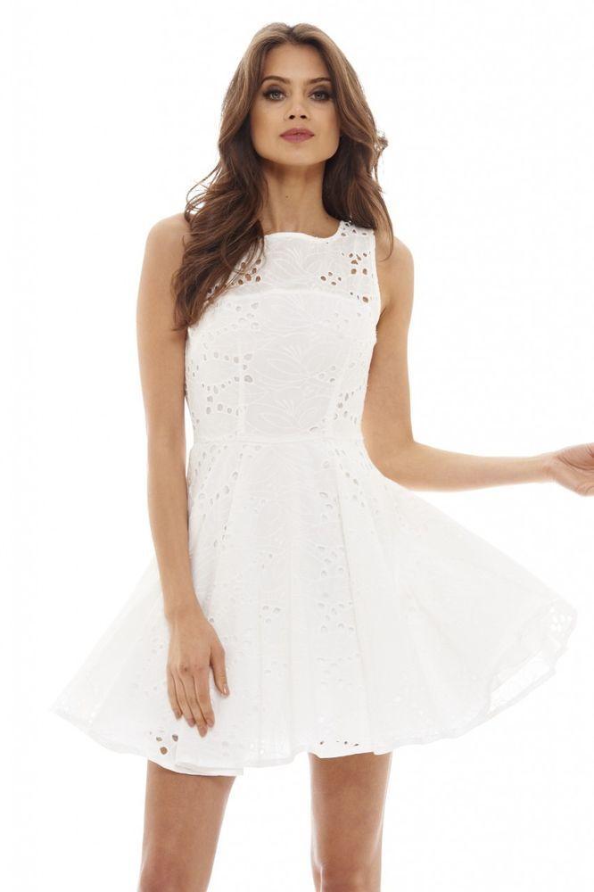 AX Paris Womens Mini Skater Dress Cream Prinkled Cut Out Sleeveless ... 174564e7e