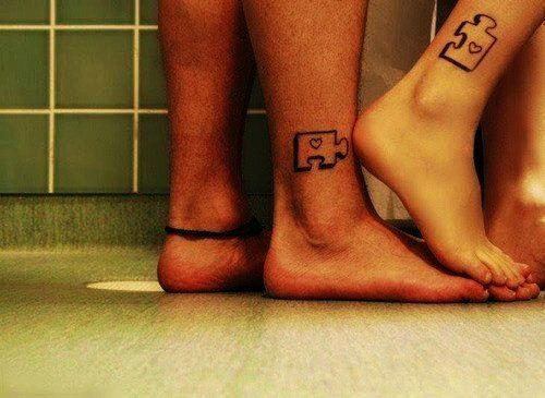puzzle piece cute matching couple tattoos - cute matching couple