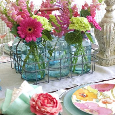 Summer Flowers in a Colorful Tablescape
