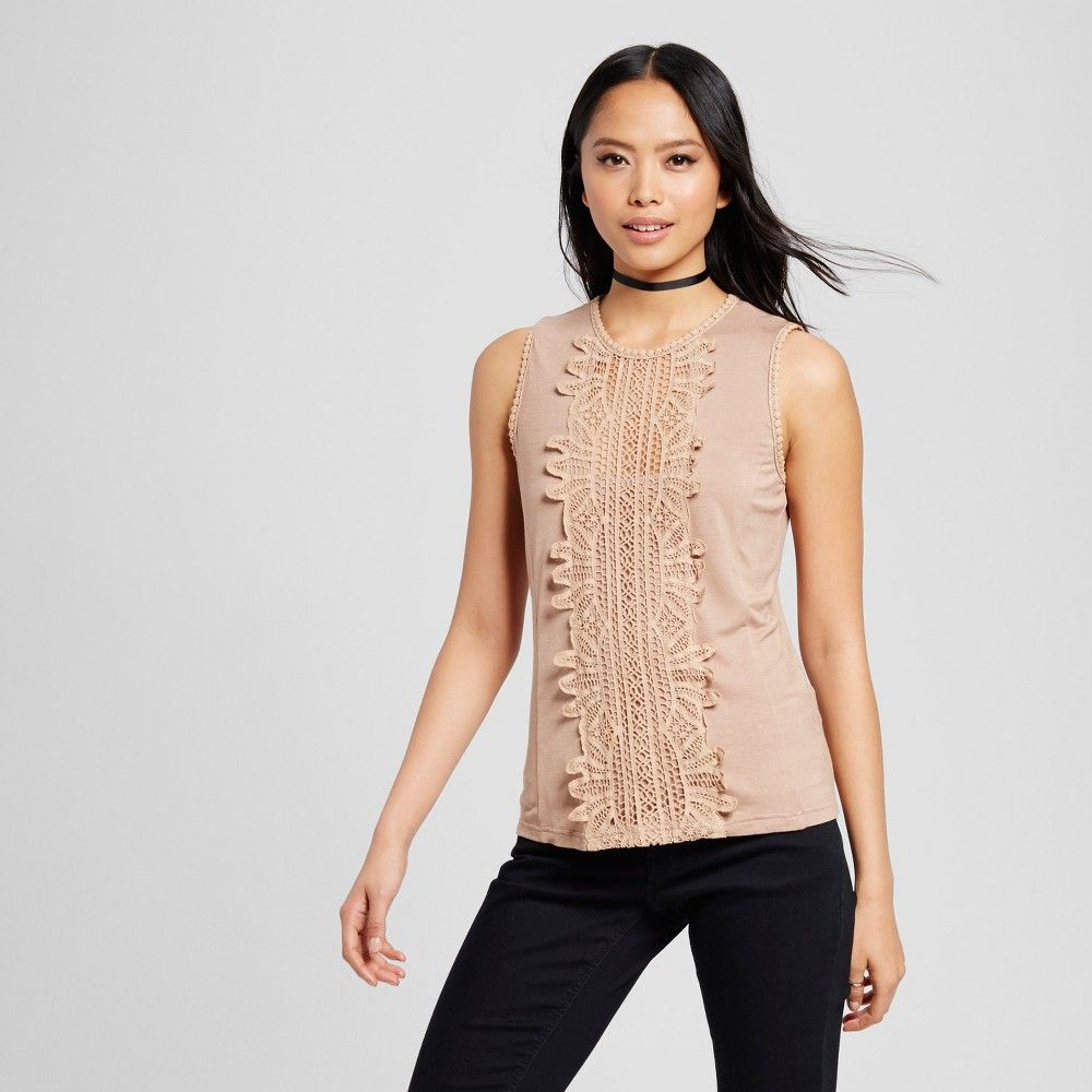 Women's Lace Front Sleeveless Tank Taupe XS - Cliche, Brown