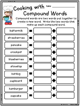 Cooking With Compound Words Compound Words Compound Words Activities Compound Words Worksheets Kindergarten compound words worksheets