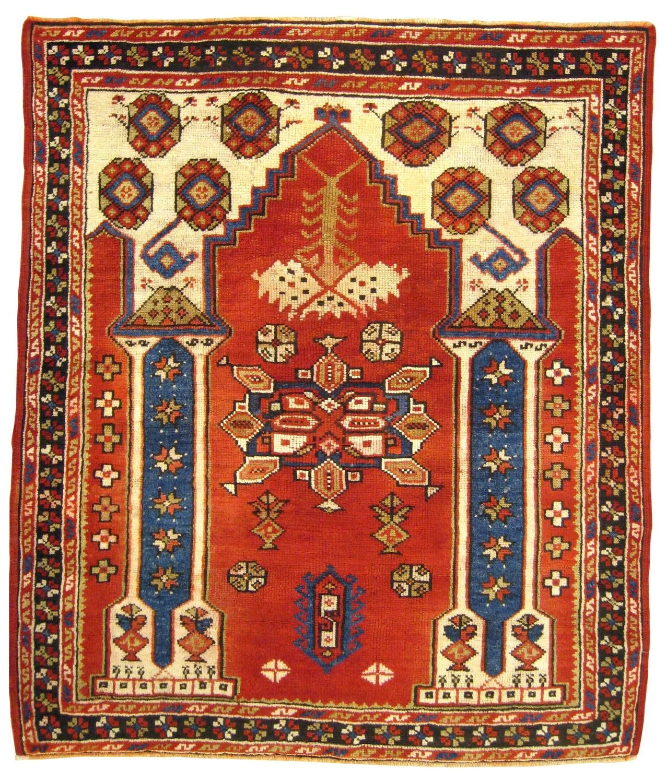 Antique Turkish Bergamo Oriental Rug Small Square Size With