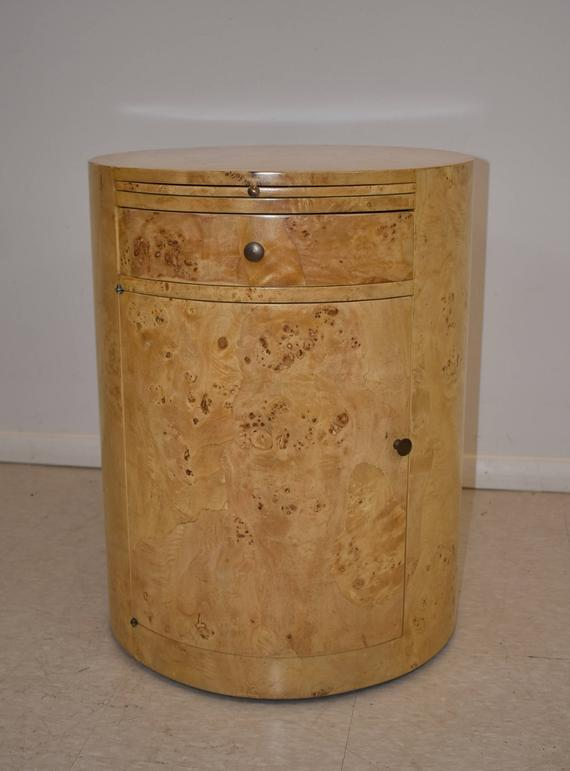 Cylinder Lamp Table In Burled Wood By William Switzer