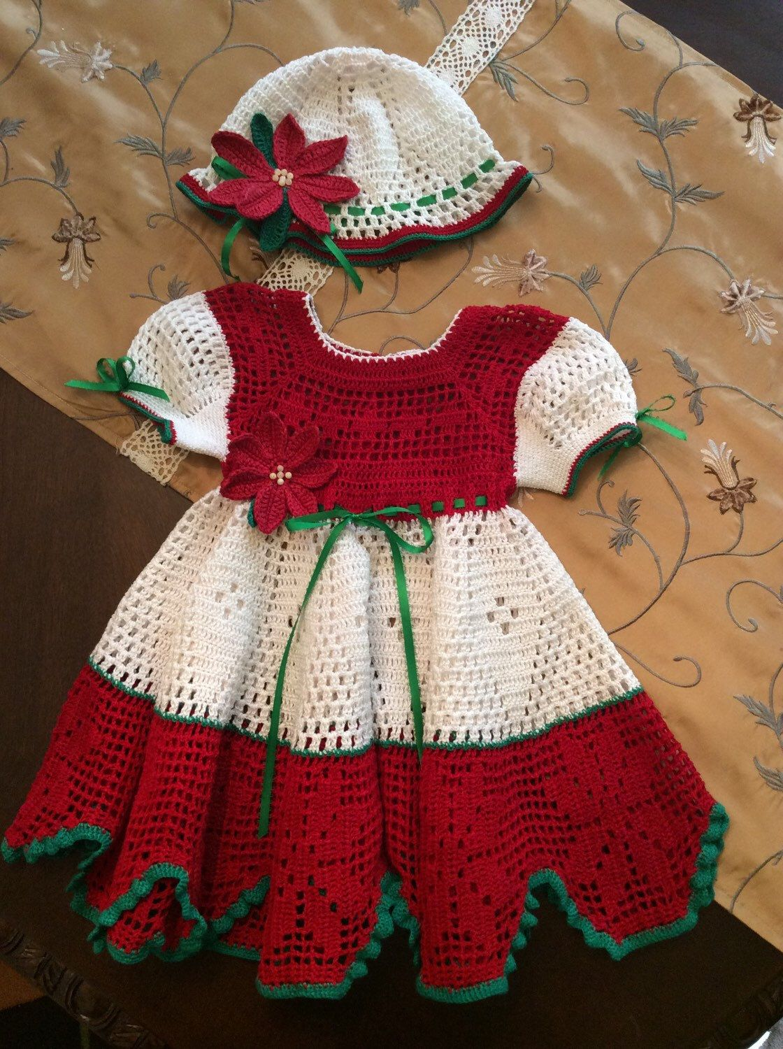 A personal favorite from my etsy shop httpsetsylisting a personal favorite from my etsy shop httpsetsylisting250810844hand crochet christmas dress with cap christmas dresses pinterest crochet bankloansurffo Gallery