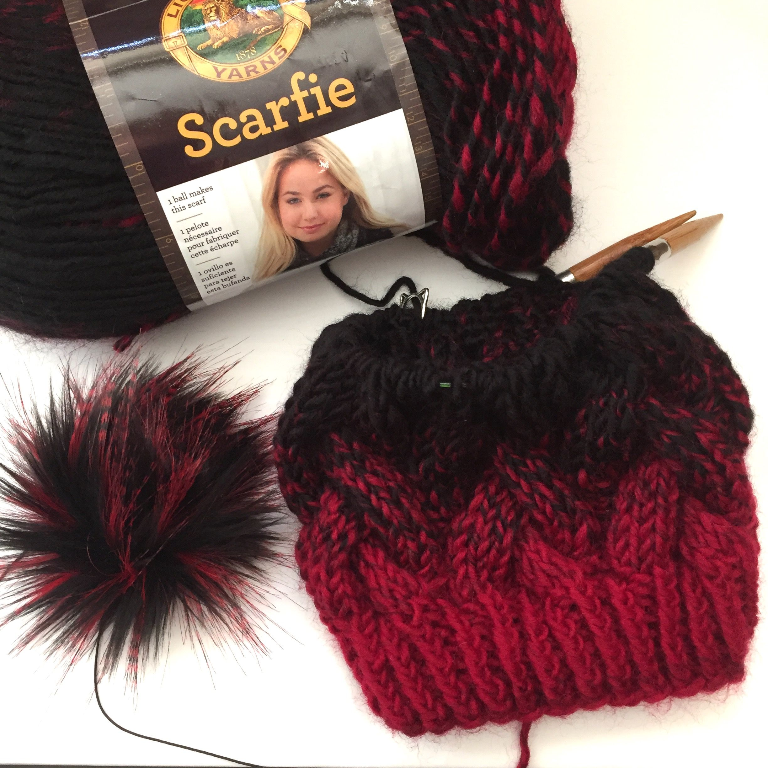 Lion Brand Scarfie yarn makes the best Braided Cable Beanies! Simply add a  faux fur pom to make it perfect! 4d6bdd3507b3
