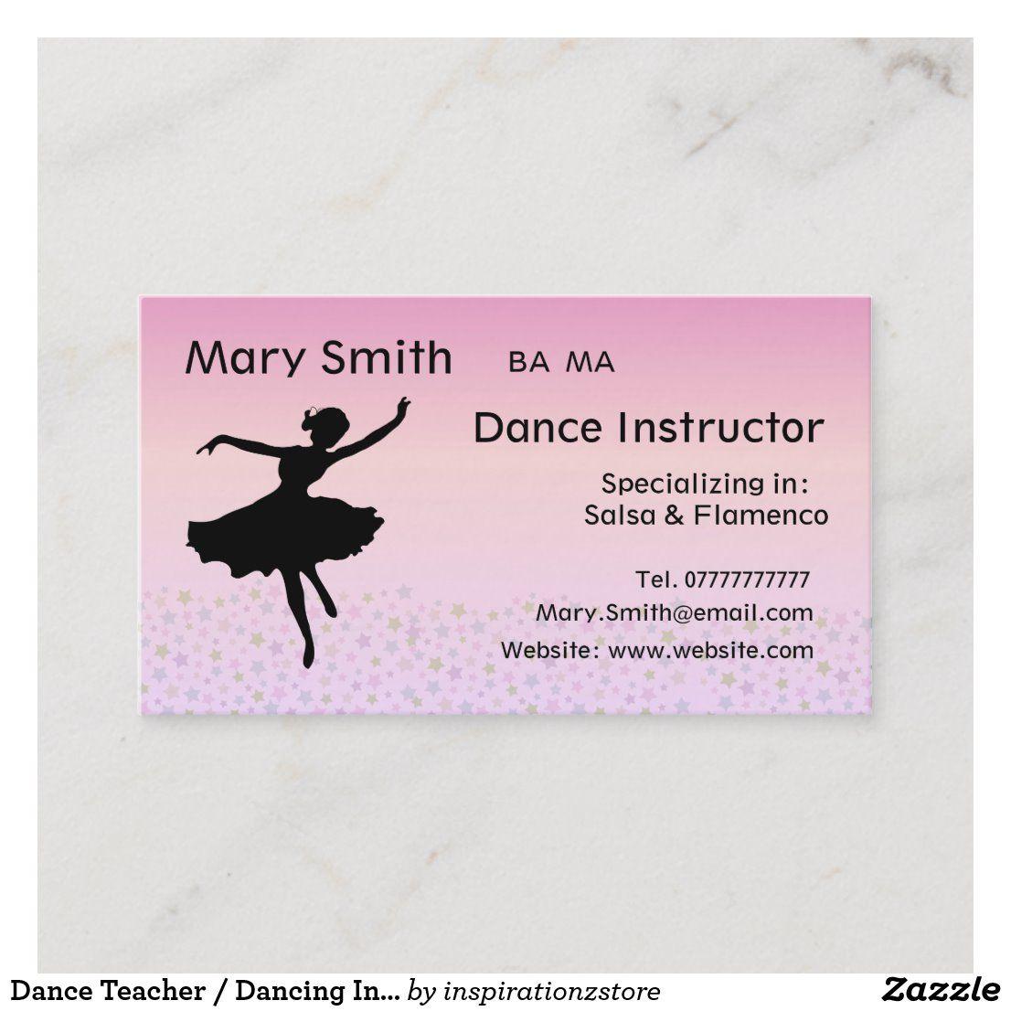 Dance Teacher Dancing Instructor Business Cards Zazzle Com Dance Teacher Dance Personal Business Cards