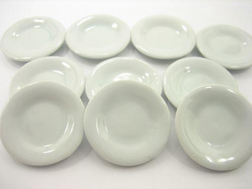 10x25 mm White Edge Scalloped Plate Dollhouse Miniatures Ceramic Supply Deco