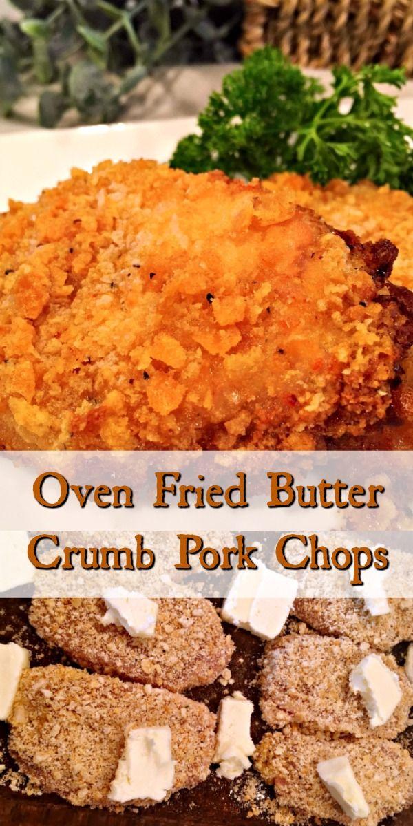 Oven Fried Butter Crumb Pork Chops