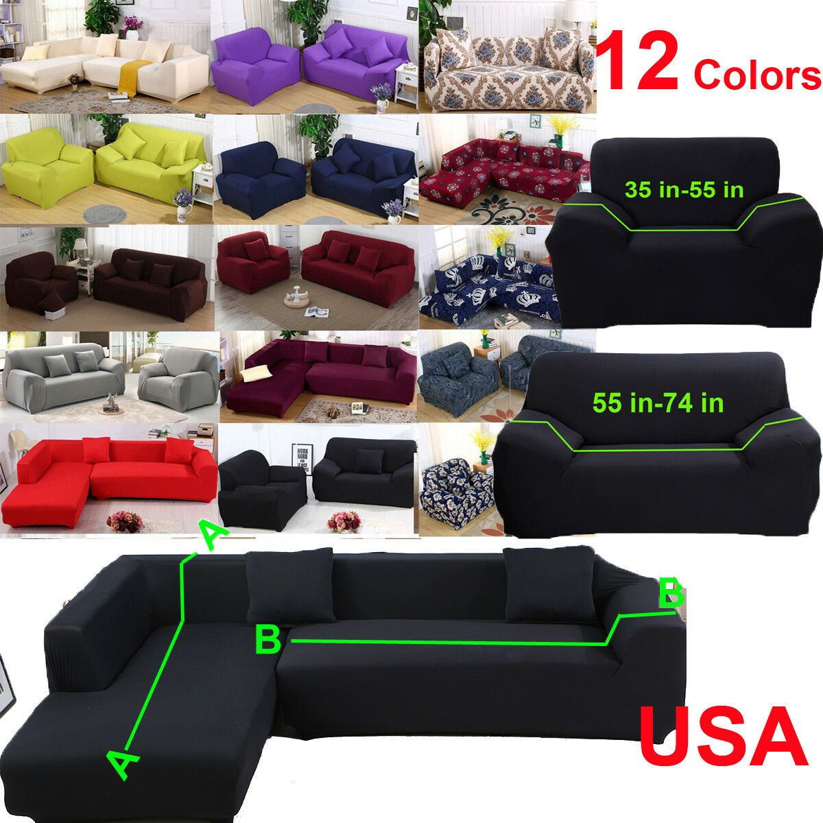 12 Colors Stretch Couch Slipcover Sofa Cover L Shape Sectional Corner 3 4 Seater 23 93 Wine Id In 2020 Slip Covers Couch Slipcovered Sofa Couch Covers Slipcovers