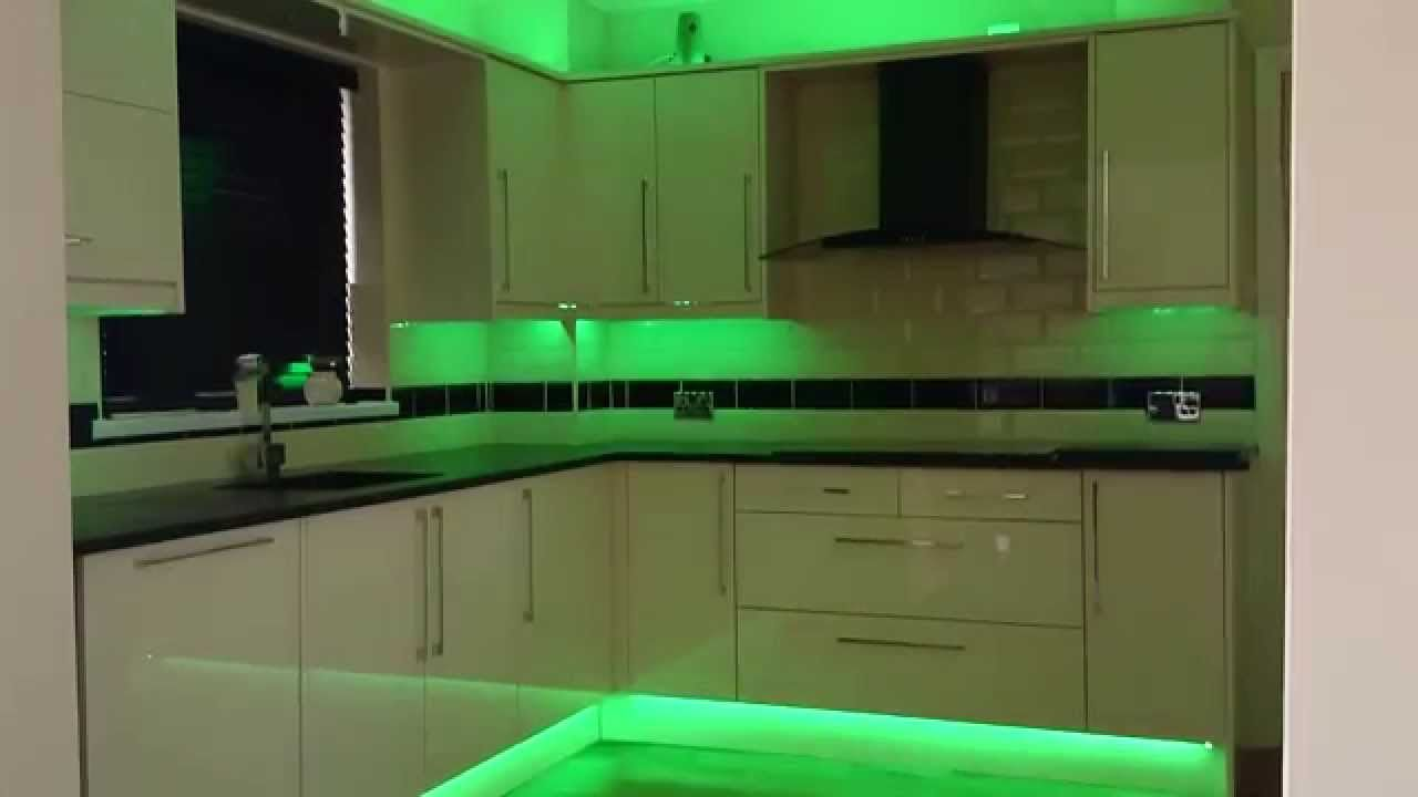 Kitchen LED Strip Lights YouTube  Kitchen led lighting, Kitchen