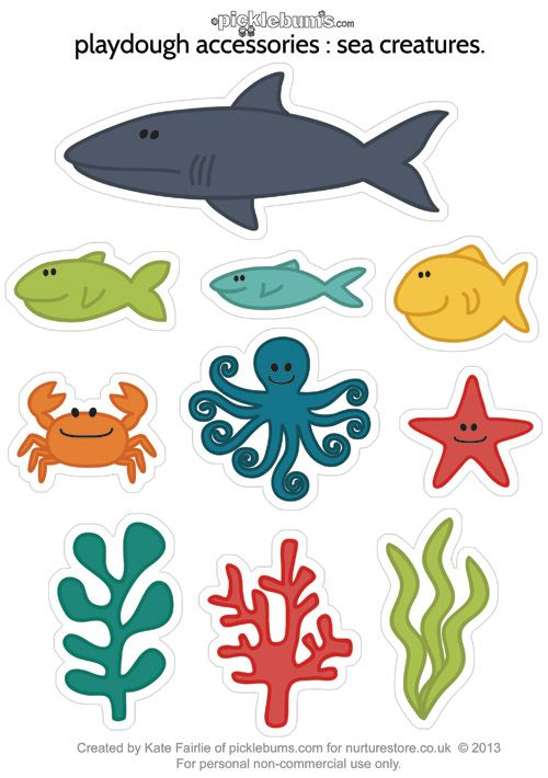 picture regarding Printable Ocean Animals called Printable sea creatures for ocean engage in dough Printables