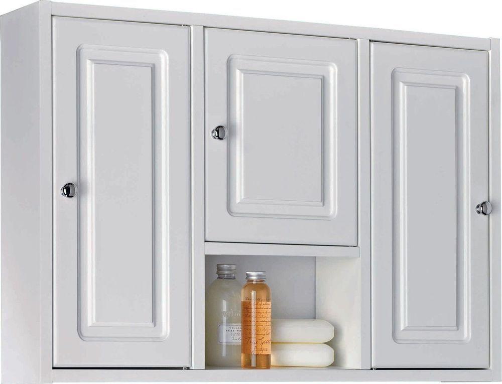 Wooden Bathroom Cabinet Large 3 Door Medicine Storage Cupboard Glass Shelves New White Bathroom Cabinets Bathroom Wall Cabinets Large Bathroom Cabinets