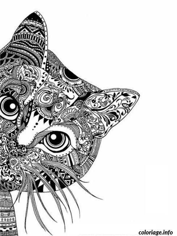 Coloriage mandala chat difficile adulte dessin imprimer projets essayer coloriage adulte - Tete de chat a colorier ...