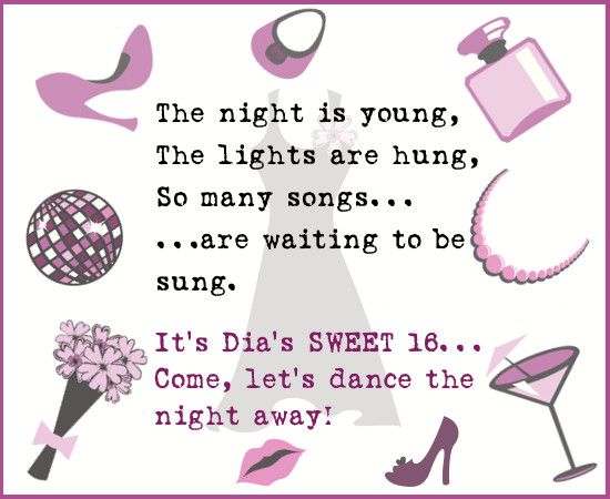 Sweet 16 invitation wordings that are awesome and actually useful party invitations stopboris Image collections