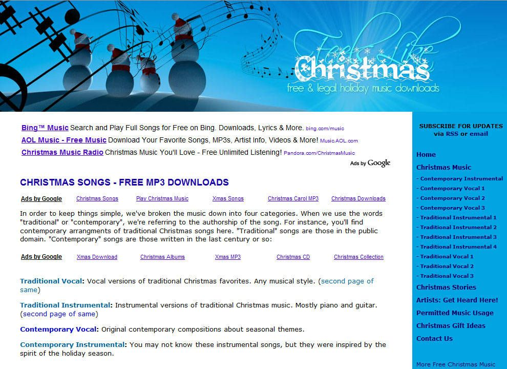 Tons of free Christmas music downloads, compiled by the freebies ...