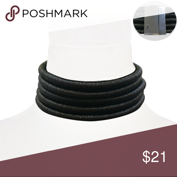 """BLACK FIVE METALLIC CORD CHOKER FIVE METALLIC CORD CHOKER. Necklace length is approximately 14-1/2"""". Must have a small neck. Please measure your neck before purchasing. Jewelry Necklaces"""