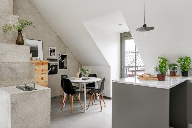 This apartment located under the roof has only a mezzanine bedroom