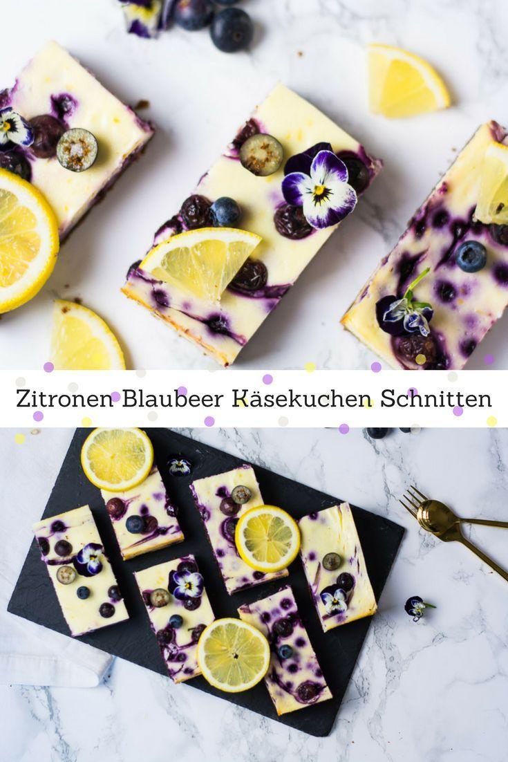 10 Minuten Zitronen Blaubeeren Käsekuchen Schnitten