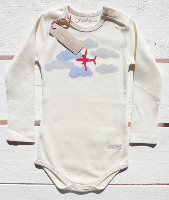 301d2ab03eb9 Handprinted organic baby bodysuit with airplane