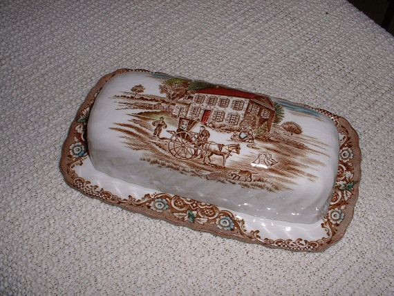 Vintage Johnson Brothers Heritage Hall Ironstone Butter Dish ...