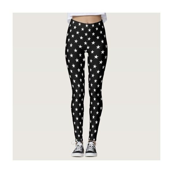 6e265a3b03104 Black and White Stars Leggings ($67) ❤ liked on Polyvore featuring pants,  leggings, star print leggings, white and black pants, star print pants, star  ...