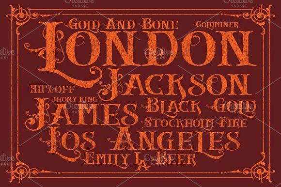 Gold And Bone Vintage Fonts Lettering Letterpress Font