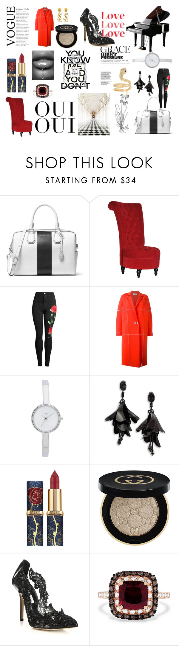 """""""SH"""" by katiem001 ❤ liked on Polyvore featuring MICHAEL Michael Kors, Courrèges, DKNY, Oscar de la Renta, Oui, Yves Saint Laurent, Gucci, Oxford, Chanel and Effy Jewelry"""