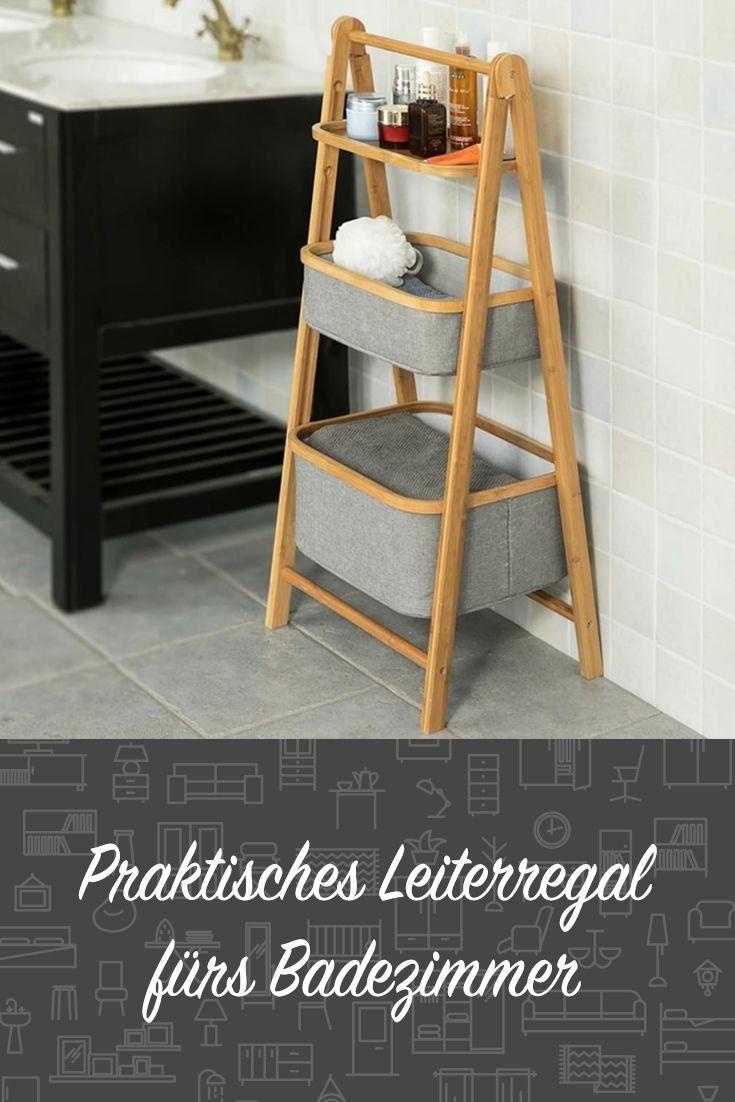 Sobuy Badregal Mit Ablage Und 2 Korben Standregal Klappbar Frg267 N Mit Bildern Regal Leiterdekor Badezimmer Regal