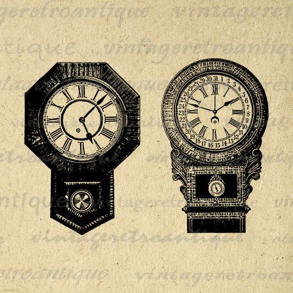Two Antique Clocks Digital Image Download Collage Sheet Antique Time - time clock spreadsheet