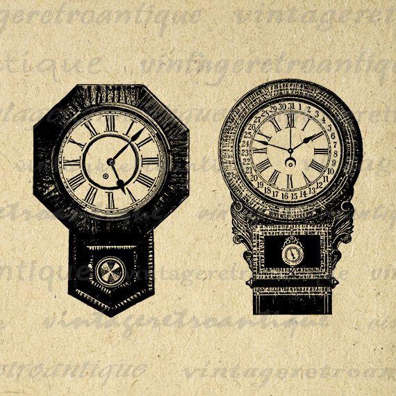 Two Antique Clocks Digital Image Download Collage Sheet Antique Time