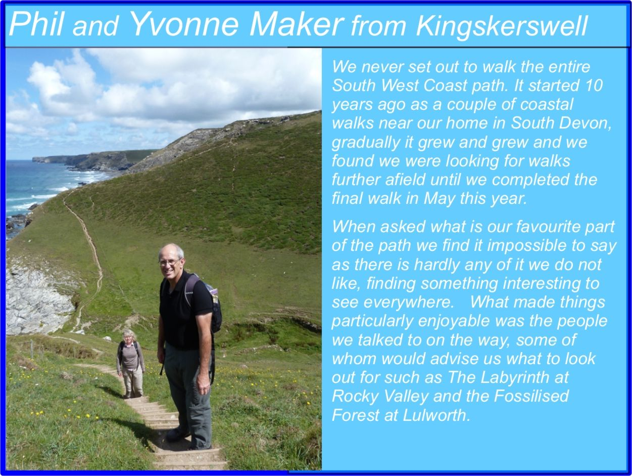 Phil and Yvonne Maker South West Coast Path Completers