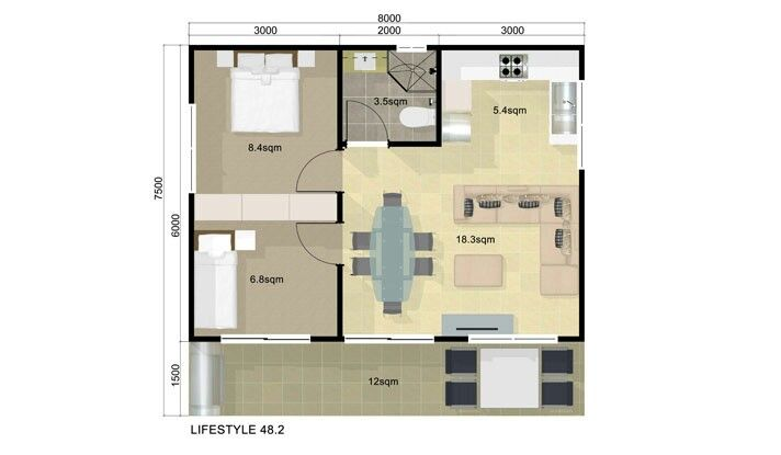 Guest House Floor Plan 2 Bedroom Guest House Pinterest