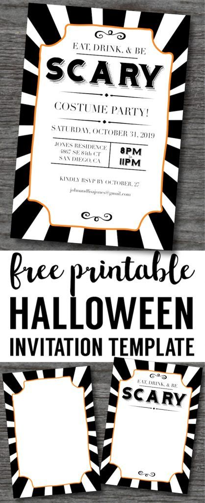 Halloween Invitations Free Printable Template  Diy Halloween