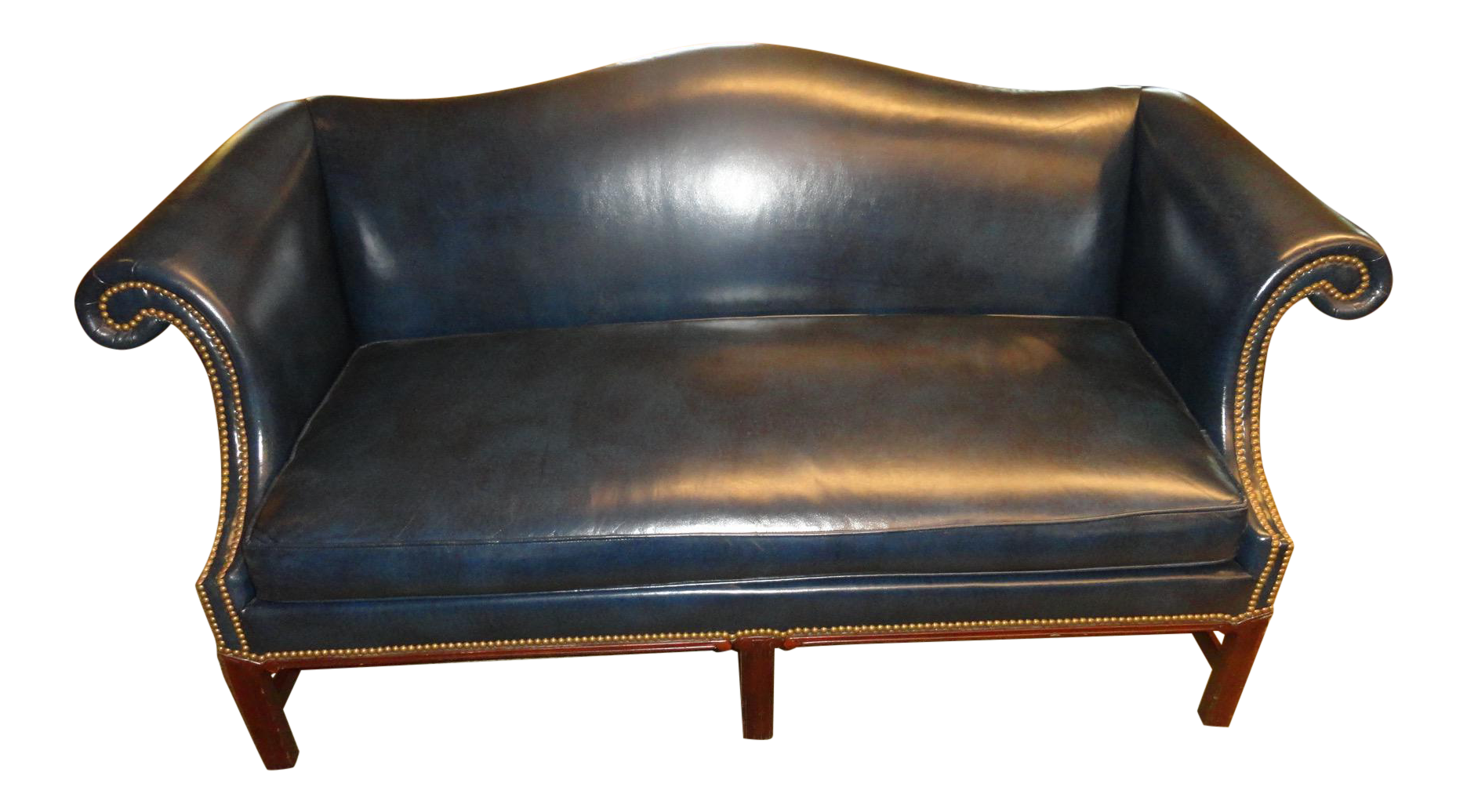 Hickory Chair Leather Couch Steel Headshot Co Settee In 2018 Cat And The Fiddle Chairish