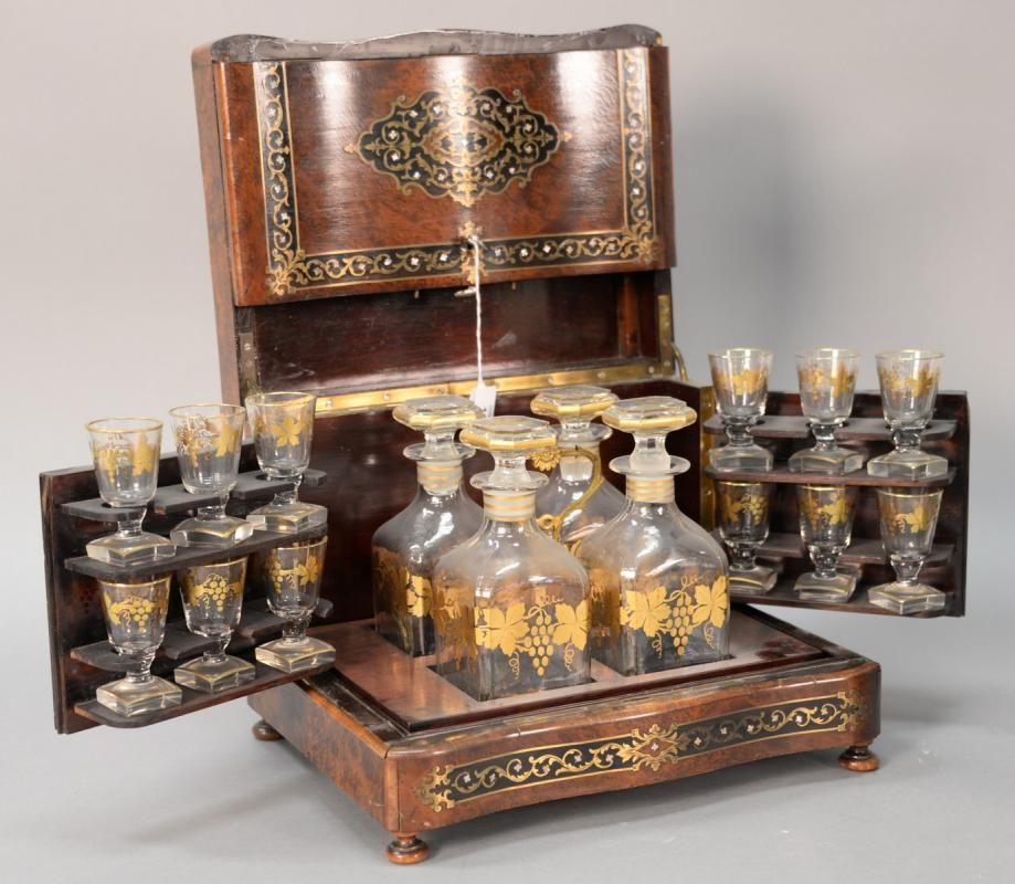 French burled Cave a Liqueur set with mother of pearl inlay, turn