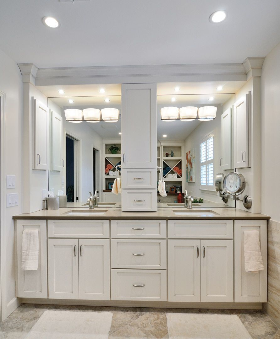 Bathroom cabinets with center storage tower google search bathroom mirrors pinterest Design bathroom vanity cabinets