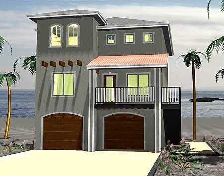 Plan 62488dj Seaside Sweetie Beach Style House Plans Coastal House Plans Beach House Plans