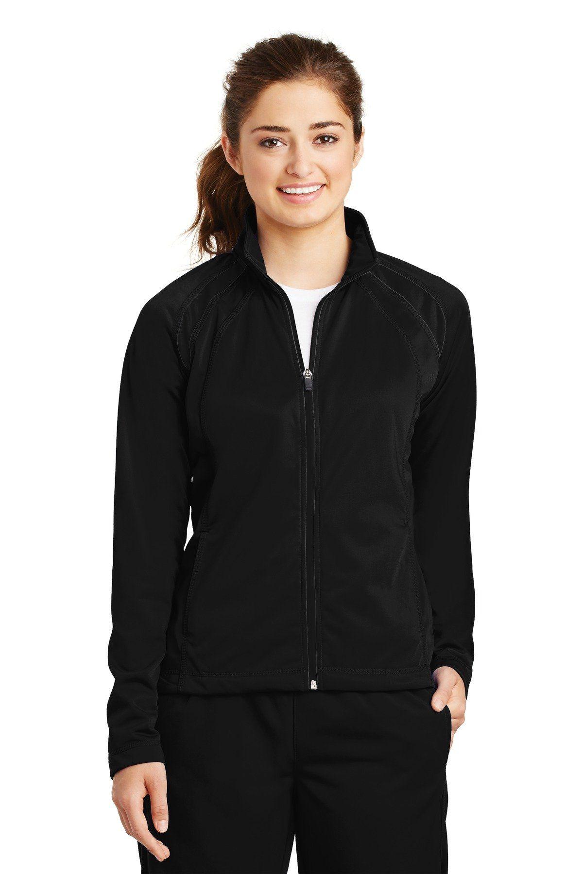 SportTek Ladies Tricot Track Jacket LST90 Black/Black