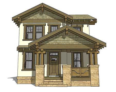 Narrow craftsman house plans house design plans for Narrow house plans with attached garage