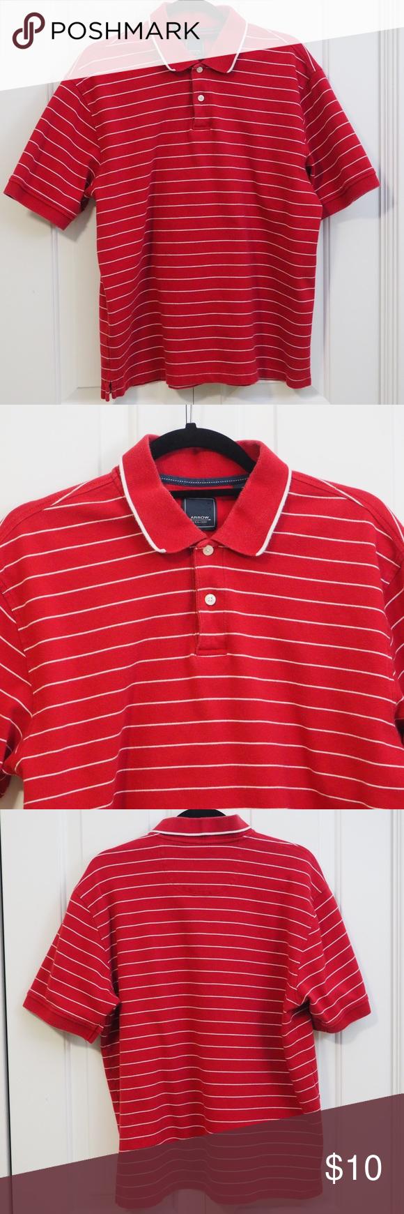 Arrow Striped Polo Shirt Red White Collar Button Striped Polo Shirt Business Casual Work Work Casual