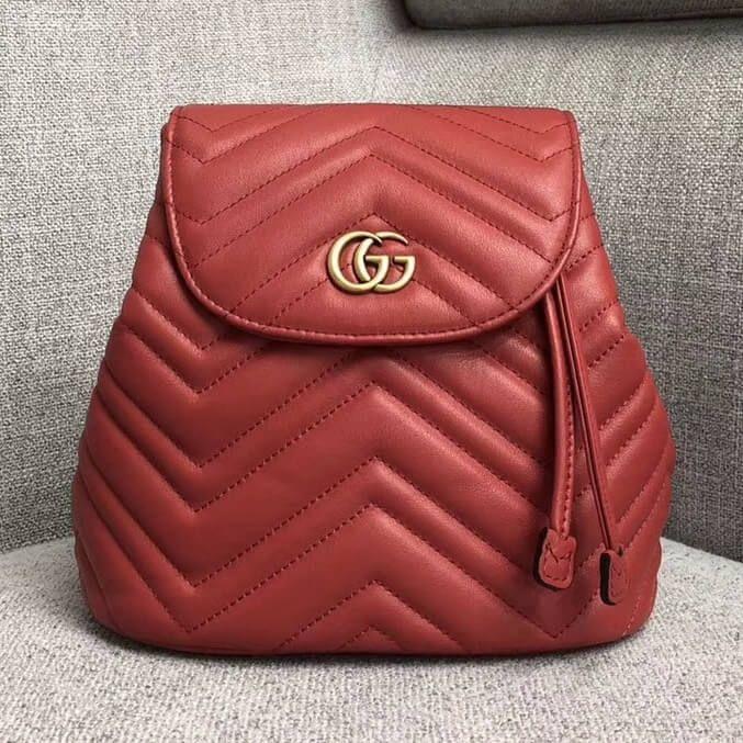 d2b9160940d00 Gucci GG Marmont Matelassé Backpack 528129 Red 2018