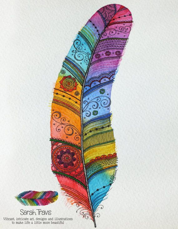 Rainbow Feather 2 Original Painting With Note Of By Sarahtravisart