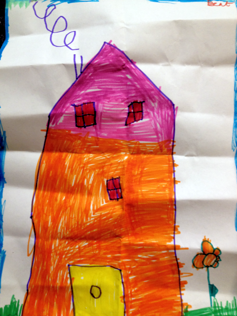 A marker drawing of a house made by Bent, 5 years old • Art My Kid Made #kidart