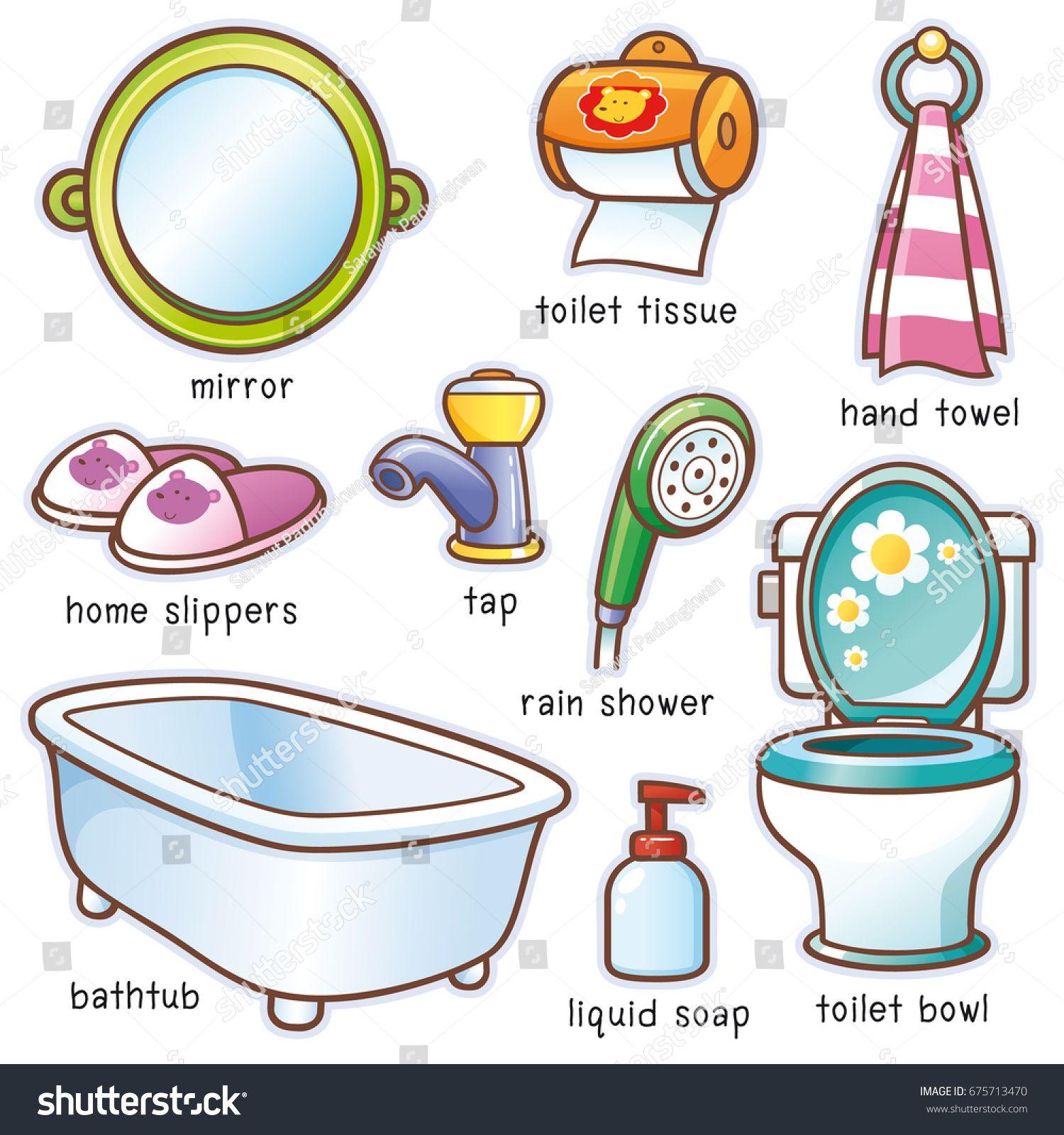 Vector Illustration Of Cartoon Bathroom Element Vocabulary