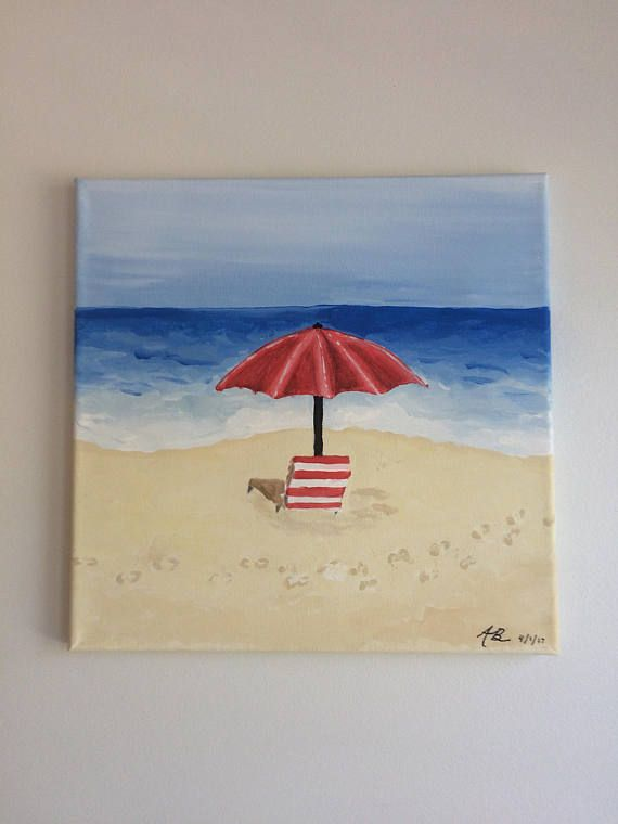 Lounge Chair With A Red Umbrella On The Beach Small Canvas