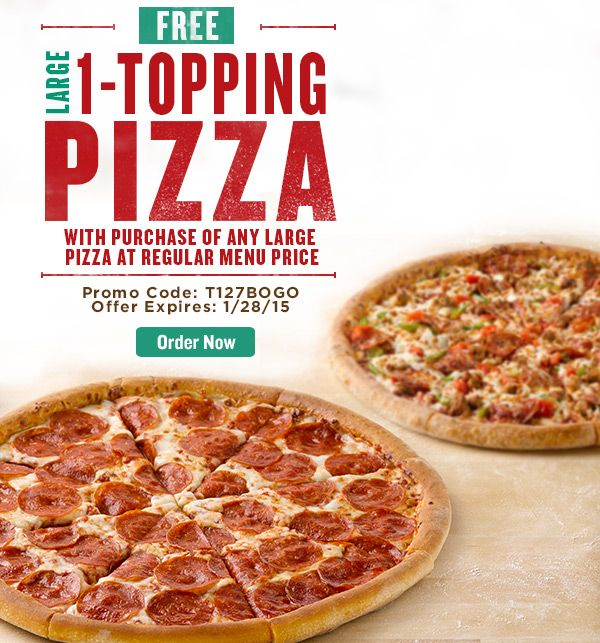 BOGO ends tomorrow! Go (go) now. Two Days Only! Free Large 1-Topping Pizza  with purchase of any Large Pizza at regular menu price.