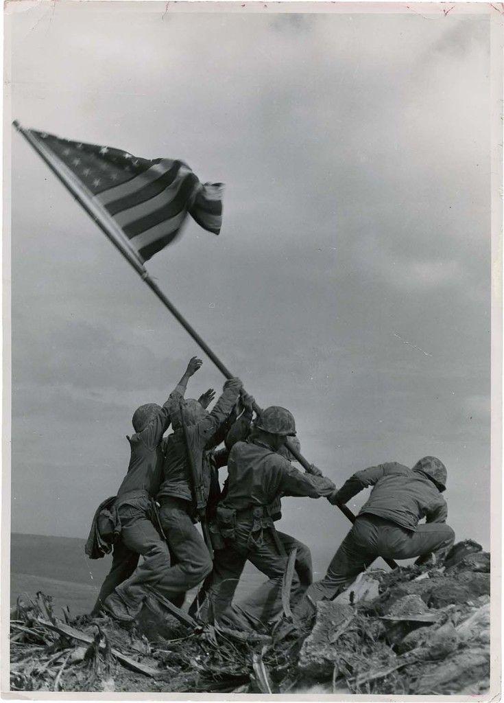 "Joe Rosenthal (1911 – 2006), ""Raising Flag on Suribachi, Iwo Jima"", Feb 23, 1945."