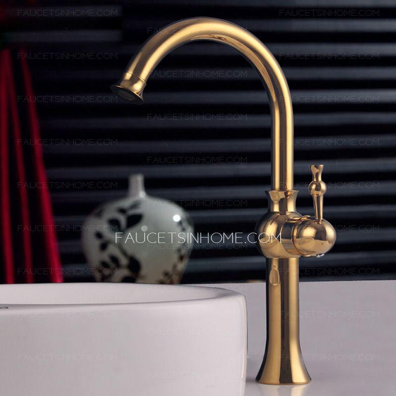 Antique Rose Gold High Side Handle Bathroom Vessel Faucet | bathe ...